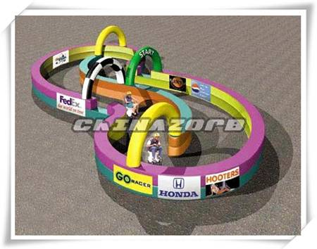 Creative designed inflatable race track for zorbing or mini motorcycle