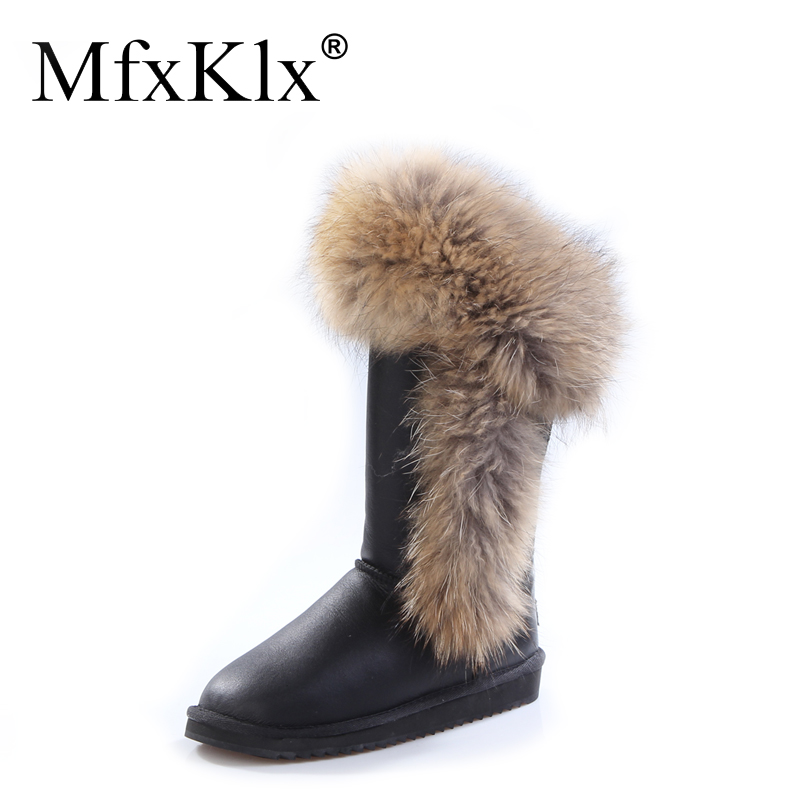 double face sheepskin high boot with Fox hair winter long boot for lady