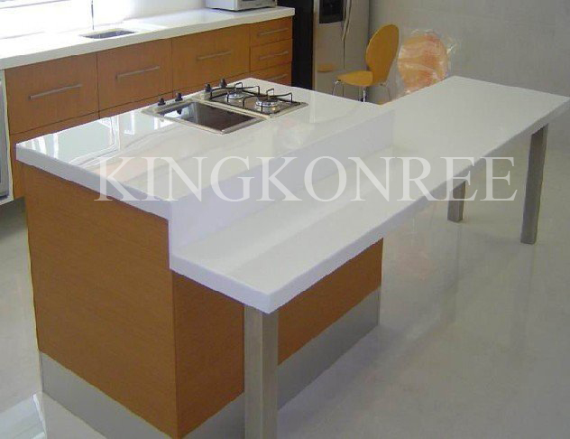 white acrylic solid surface kitchen worktop