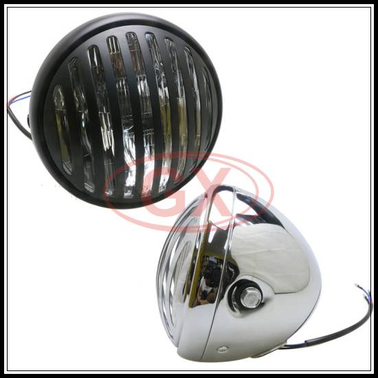 Cafe Racer Headlight Round Black Headlight for Caferacer Head Lamp