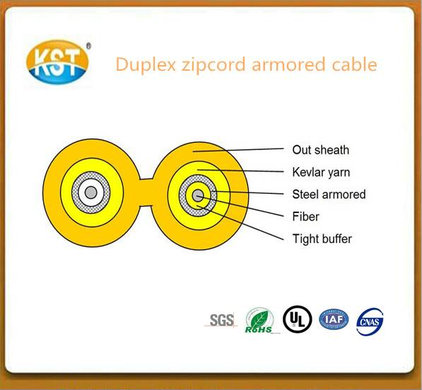 Communication cable cable wire/duplex zipcord Armored Indoor optical Cable(GJFJV)