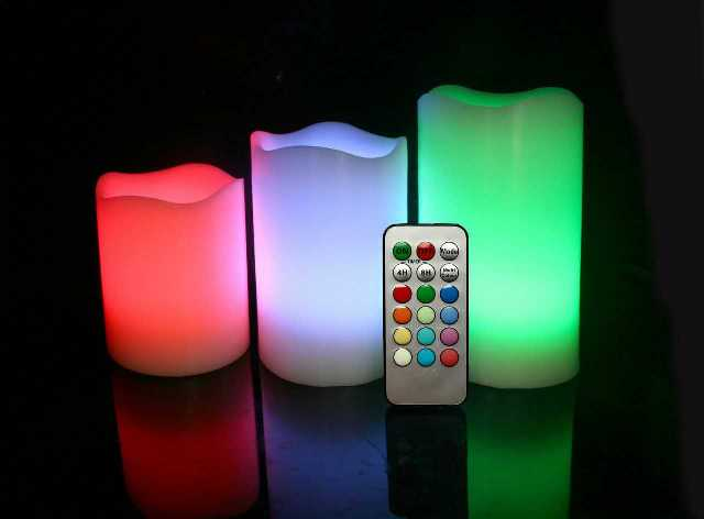 Set 3 Led Flameless Pillar Candle led candle lighting with remote