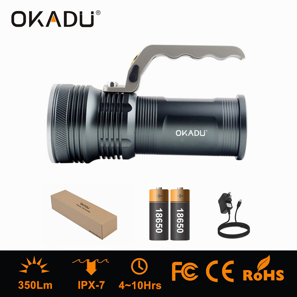 OKADU ST01H Silver Black Rechargeable Cree LED Handheld Torch
