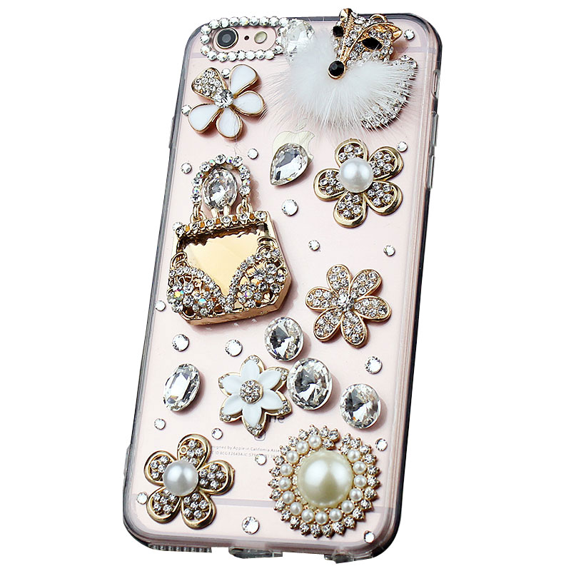 Handmade Crystal Phone Cover for iPhone6plus girl iPhone X/7/8 Samsung S6/S7/S8+ Cases