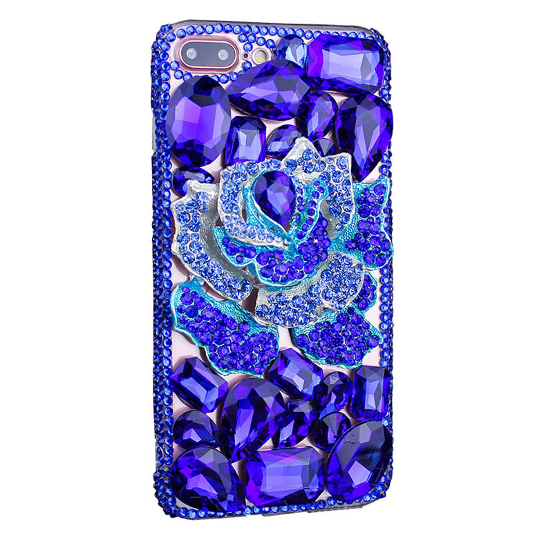 Bling Handmade Rhinestone Blue Rose Mobile Cases for iPhone X/8/7/6 Plus Samusng Galaxy S6/S7/S8+