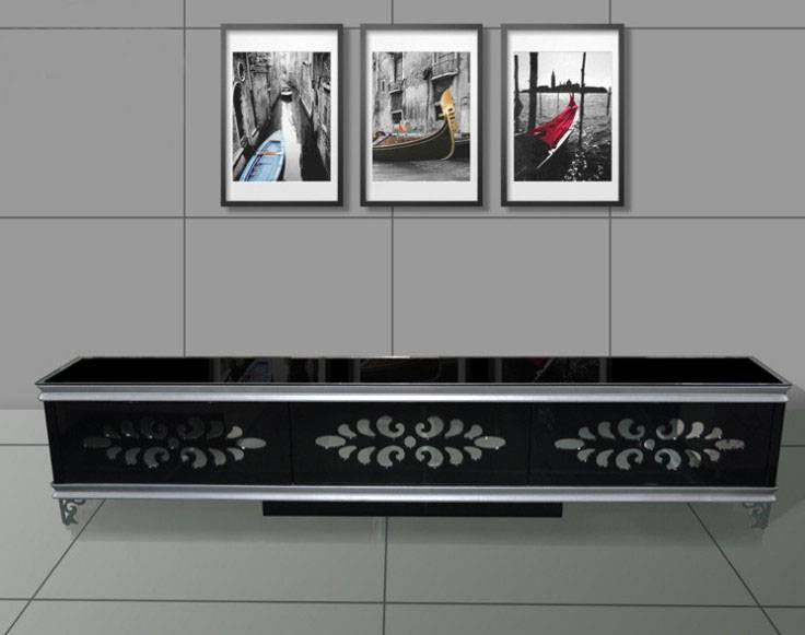 Hot sale tempered glass and MDF TV cabinet design