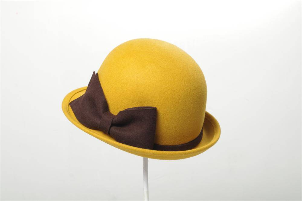 Bowler Wool Felt Hat with Bowknot (FW004087)