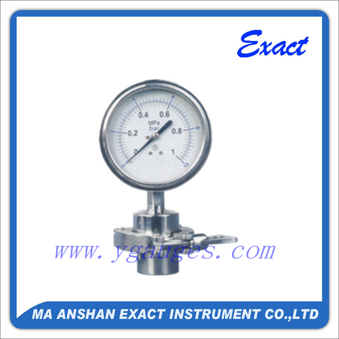 Sanitary Diaphragm Pressure Gauge with Clamp Connection