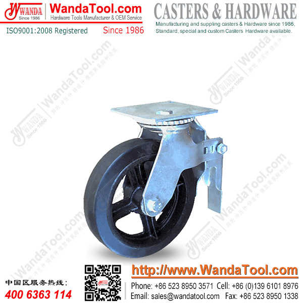 8 In. Top plate Scaffolding Caster with Moldon rubber wheel