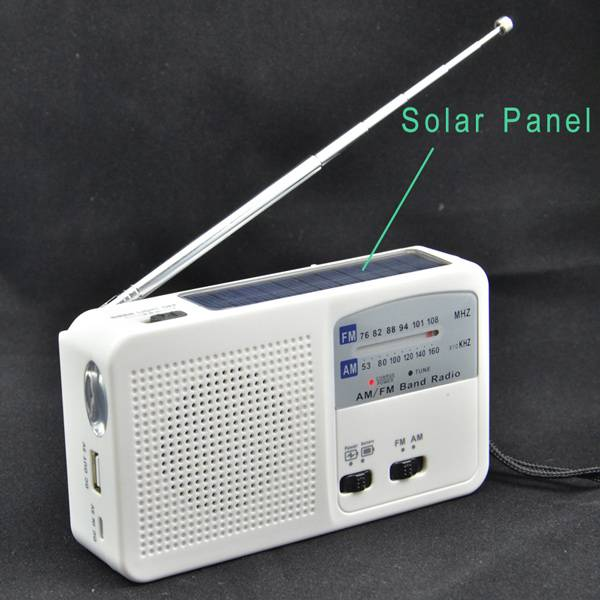 Hand crank dynamo winding rechargeable solar flashlight power bank usb charger flashlight fm am radi