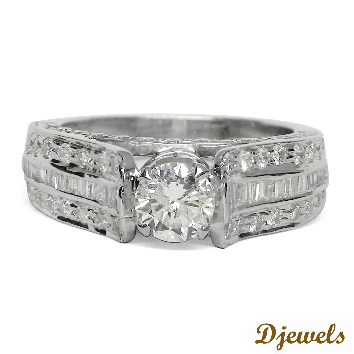 White Solitaire Engagement Ring 14K