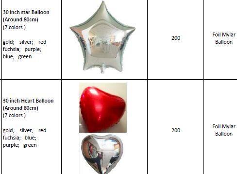 Big 30 inch 78-80cm Plain & Solid Round, Heart,Star Foil Mylar Balloon