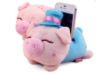 Cute Pig Plush Cell Phone Holder