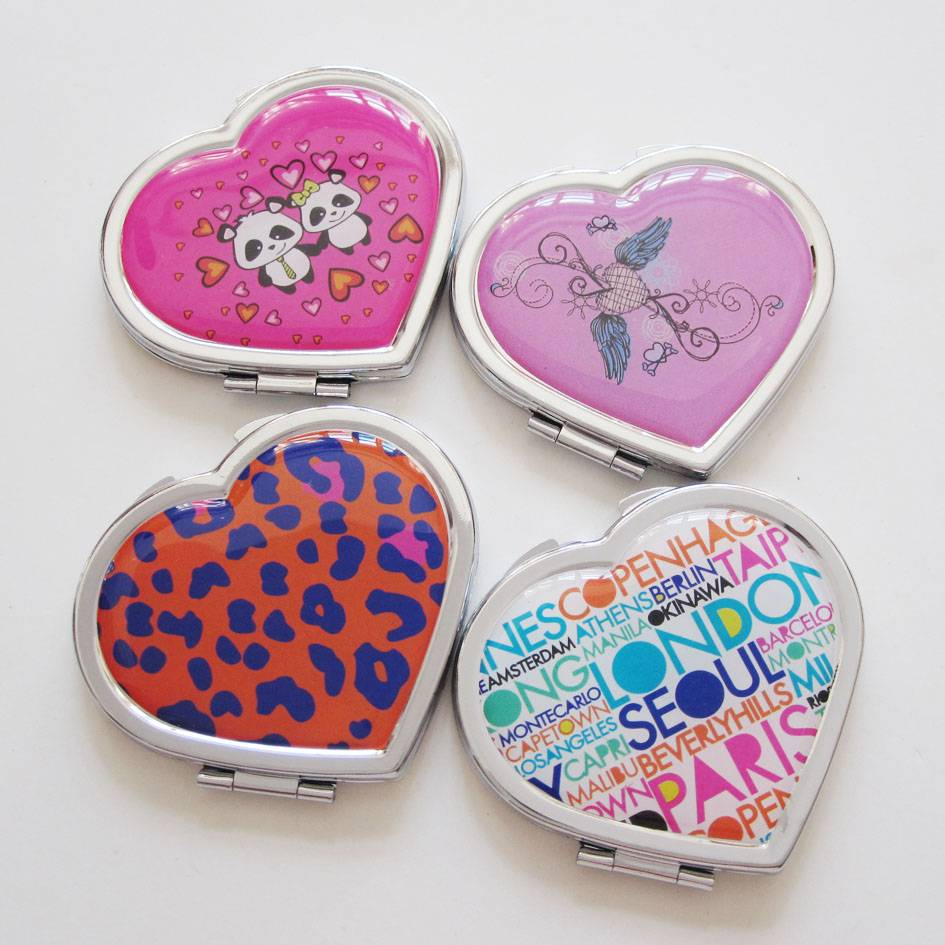 heart  cosmetic pocket  mirror  for gift /promotional  with epoxy