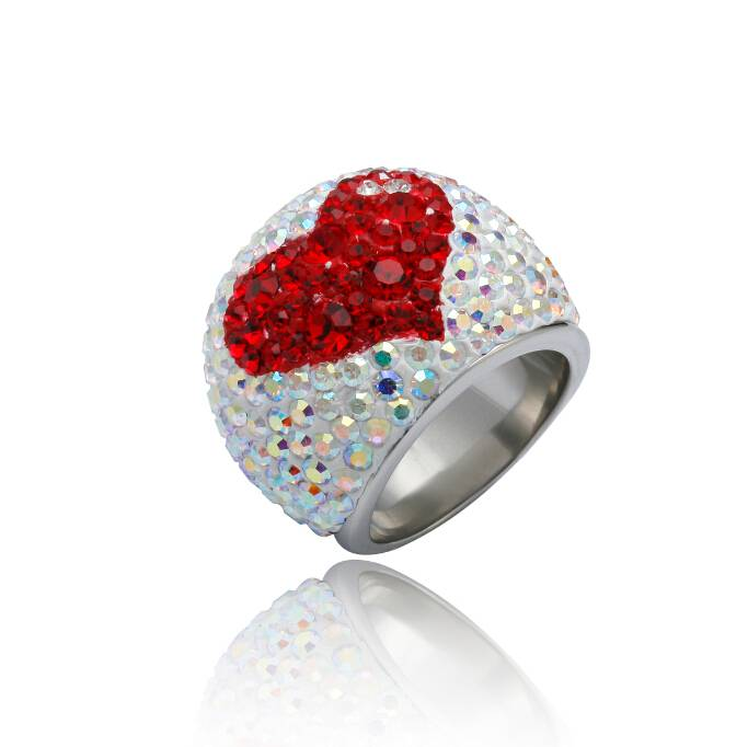 Sugar Heart Crystal Stainless Steel Ring for Fashion Girls