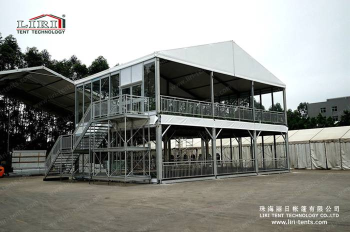 Big Aluminum Structure Two Storey Tent With Galss Wall