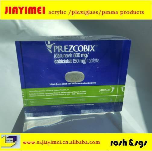 Acrylic pills paper weight paper weight embeded with pills