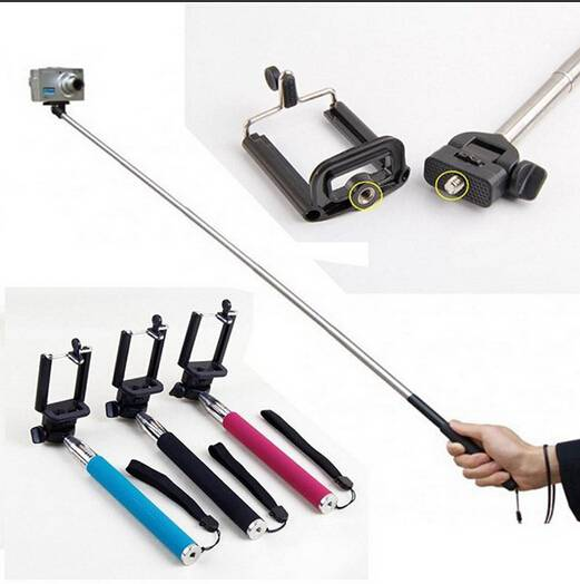 No Bluetooth wireless Extendable Monopod Tripod Selfie Stick handheld monopod