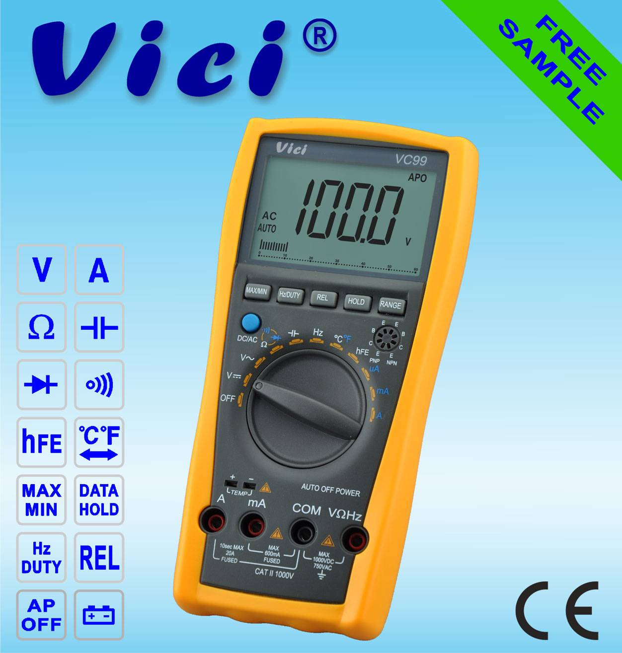VC99  3 6/7 Portable auto range digital multimeter