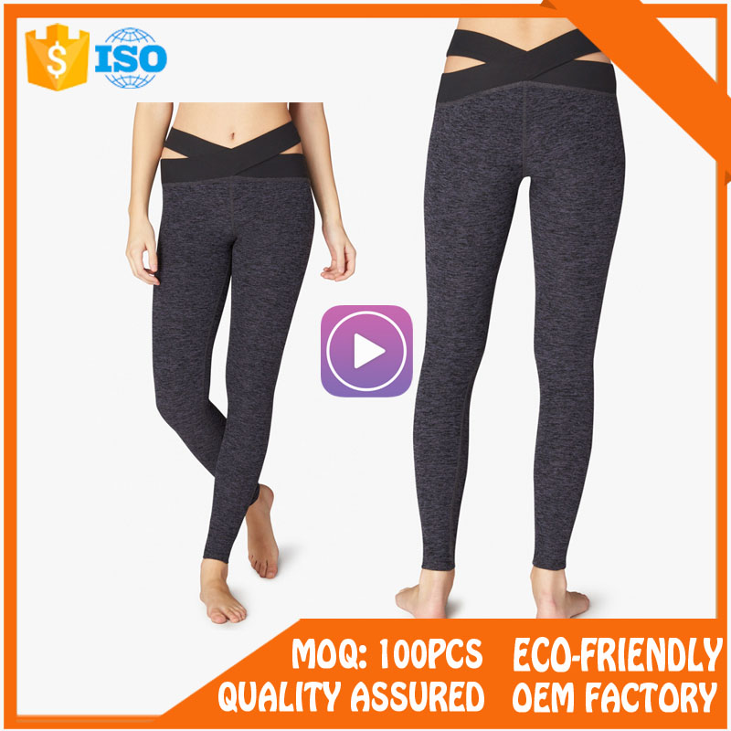 Custom womens pleated yoga pants with printing logo