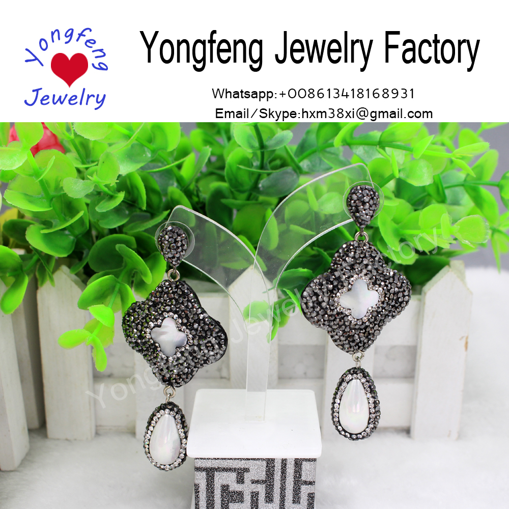 wholesale handmade flower rhinestone and shell earrings,teardrop pearls dangle earrings