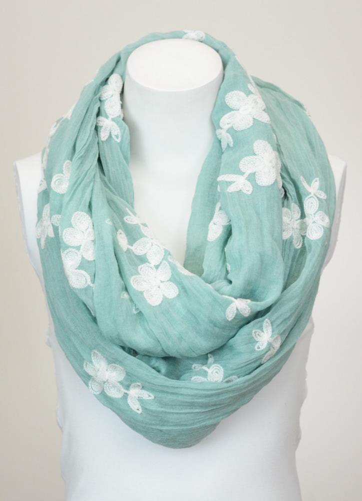 Soft Floral Print Infinity Loop Circle Scarf China Factory