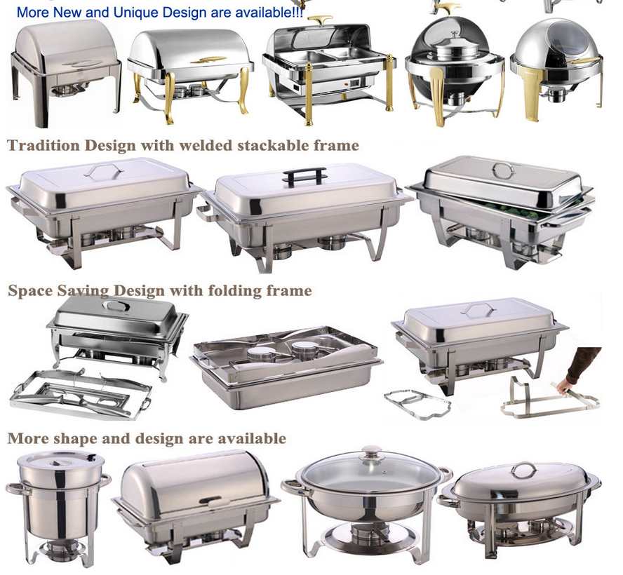 Cheap price stackable stainless steel catering buffet chafing dish food warmer