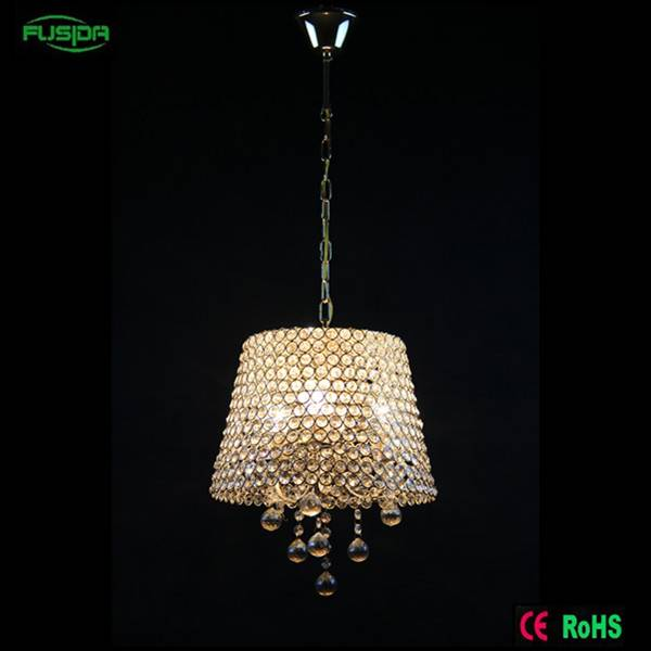 Remove mosaic france glod crystal pendant&chandelier light with lampshade for home/hotel