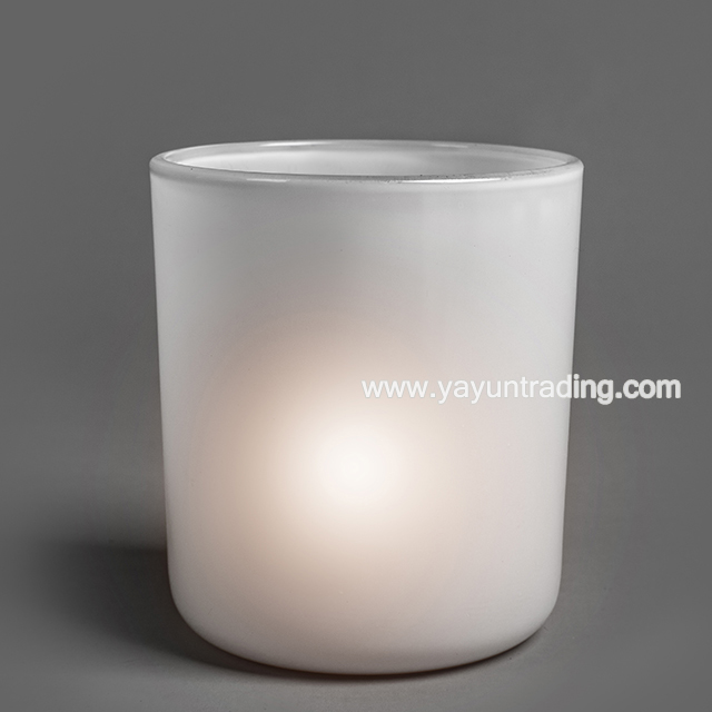 Hot Sale Cylindrical shape Frosted White Glass Candle Holder