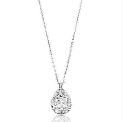 Pear--Shaped 925 Sterling Silver Baguette Pendant With Brilliant Cut Zriconia Stones