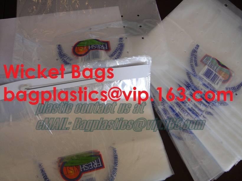 Wicket bags, LDPE header bag, Newspaper bag, LD Poly bags on Header, Staple bag