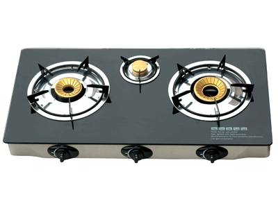 Durable Black Glass Table Gas Stove Cooktops Three burner