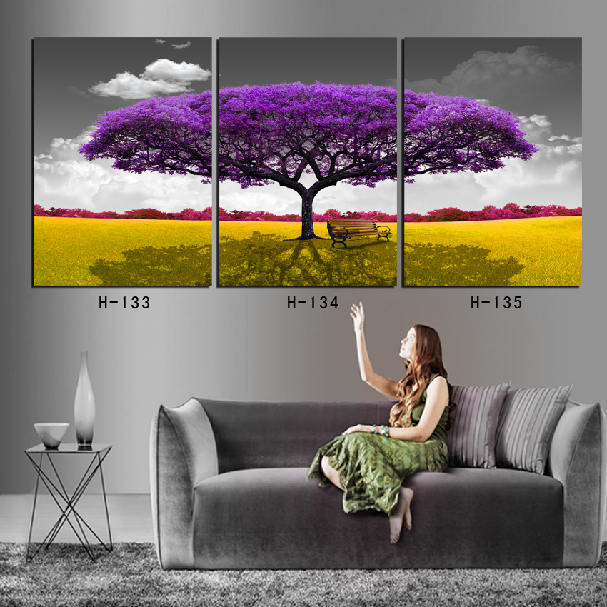 Framed wall art 3 panel oversize life tree in purple living room decorative oil paintings