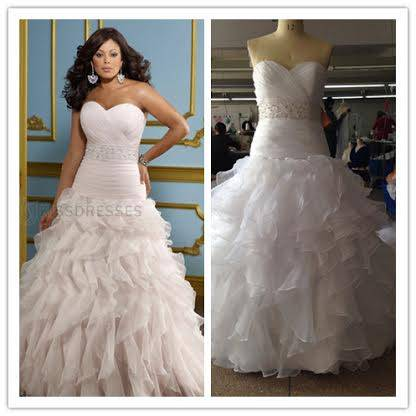 sweetheart beads plus size wedding gown hand ruffles pleated
