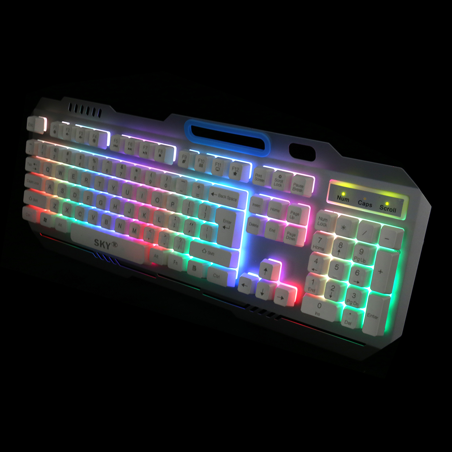 Hot selling ergonomic multimedia Rainbow color backlight membrand keyboards with phone holder