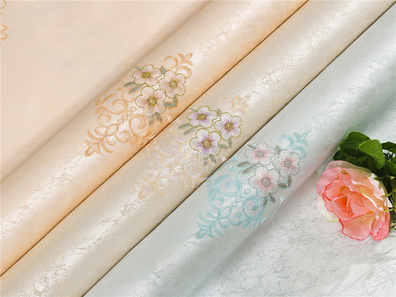 2017 factory price 3d decoration embroidered textile wallpaper