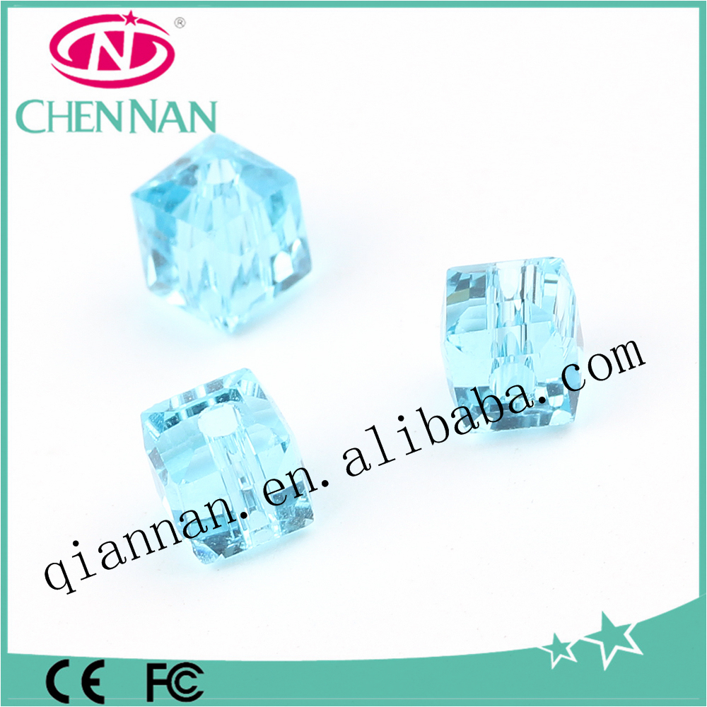 china bead manufacturer faceted blue decorative cube blowing beads for hair jewelry