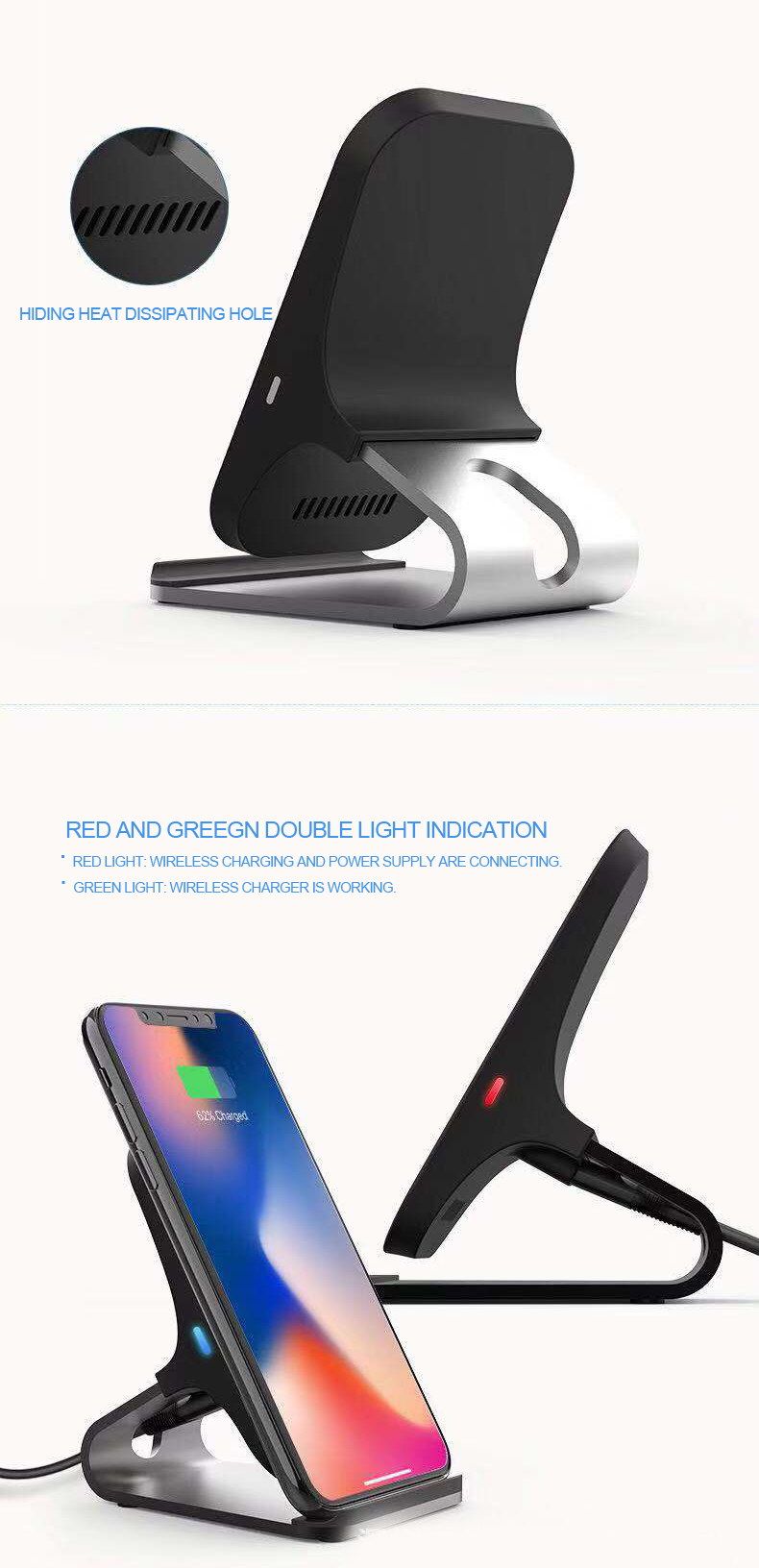 Cellphone Fast Wireless Charger Stand for Samsung Galaxy Note 8 S8 S8 Plus S7 Edge S7 S6