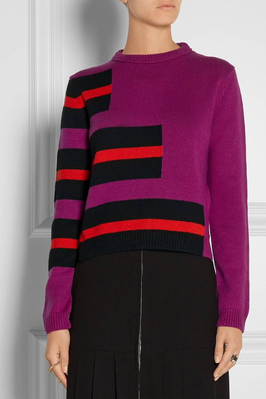 Fashional Lady Stripe Pattern cashmere sweater Jumper Pullover