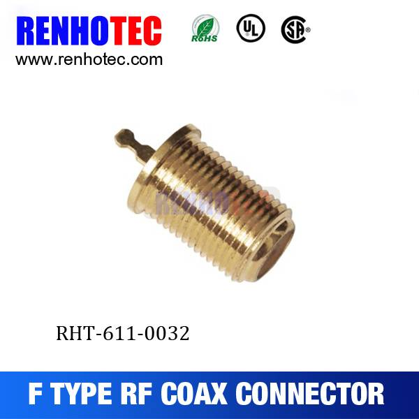 Gold Plated F Female Crimp RF Electrical Coaxial Wire Connectors