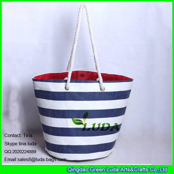LUDA Cheap Striped Beach Tote Bag Summer Paper Straw Bag