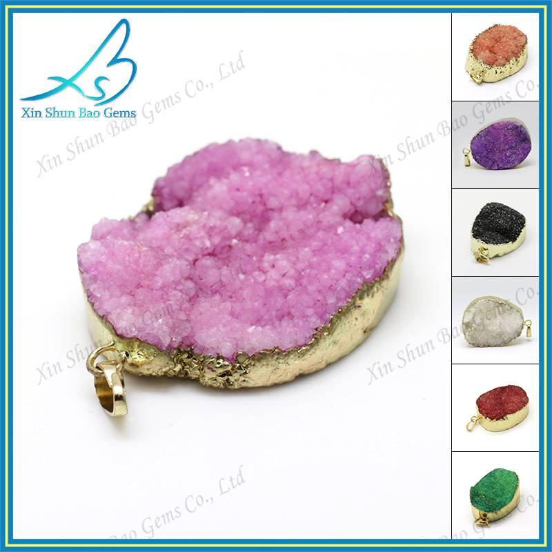 Free shape popular colorful druzy jewelry