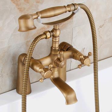 Antique Brass Double Handles Bridge Bathroom Bath Tap Set Tfa348