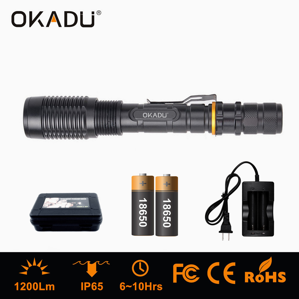 OKADU ZT02 Long Distance 500m 18650 Battery LED Zoom Flashlight 1200Lm Cree XM-L T6 LED Zoom Torch
