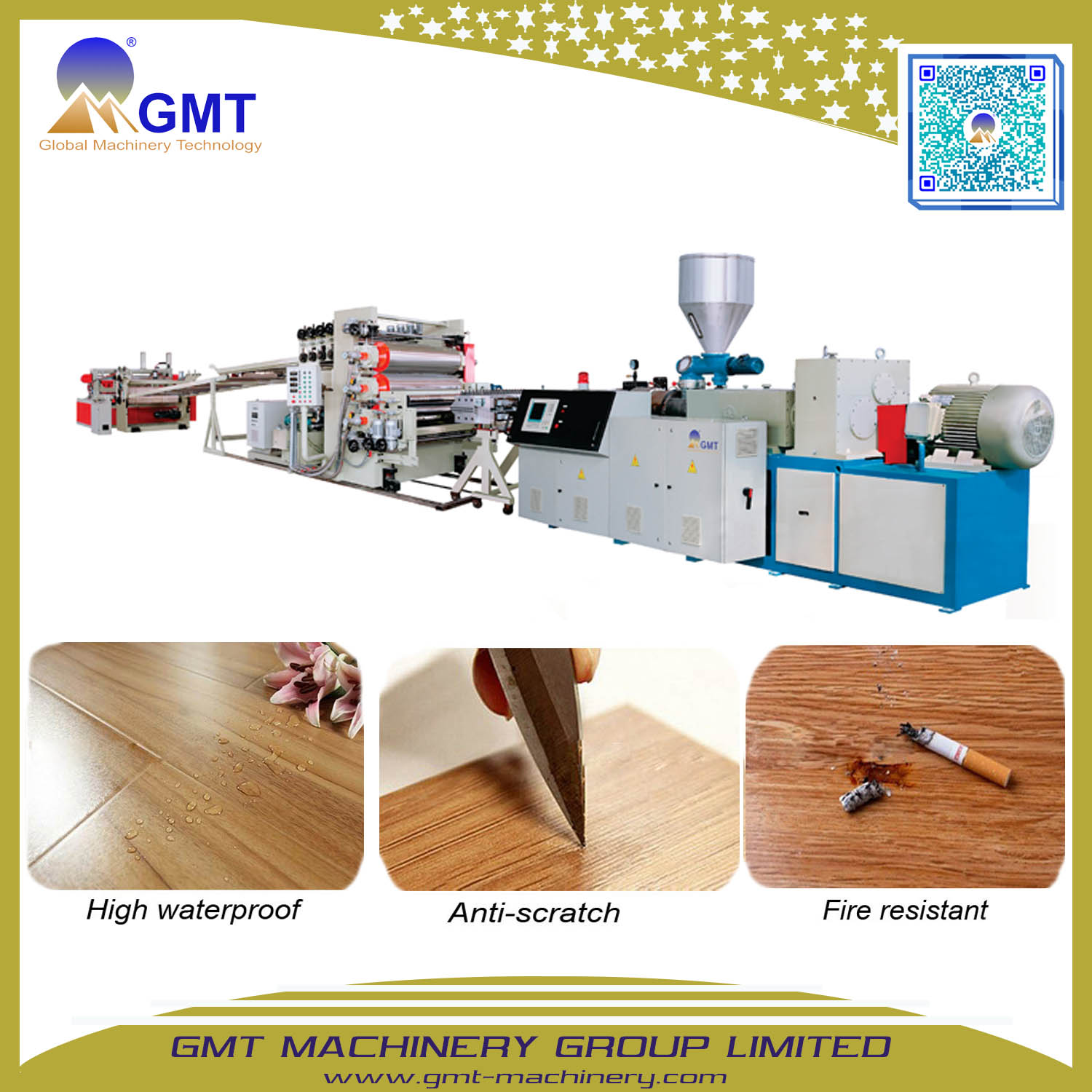 Plastic PVC Wood Vinyl Plank Floor Sheet Tile Decking Extruder Machine