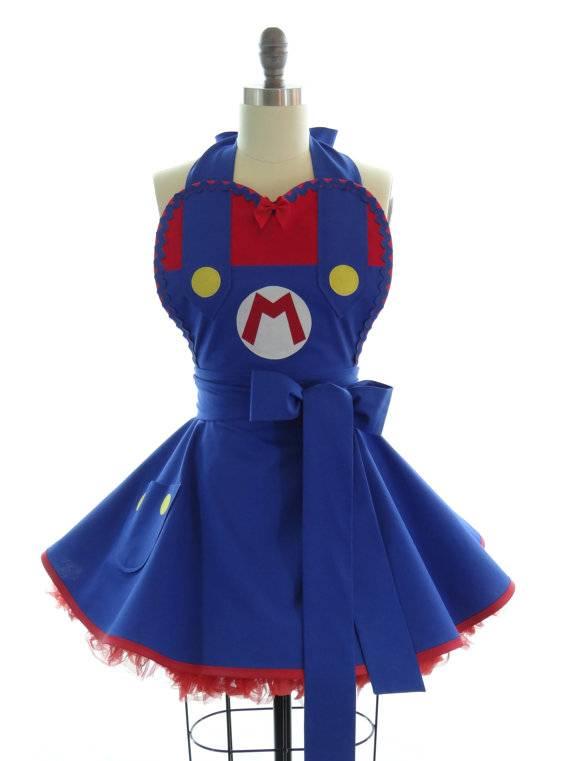 Video Game Super Mario style 100% cotton Black sexy woman cosplay retro apron