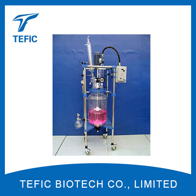 50L explosion proof chemical reactors manufacturers, China double walled glass bioreactor for sale