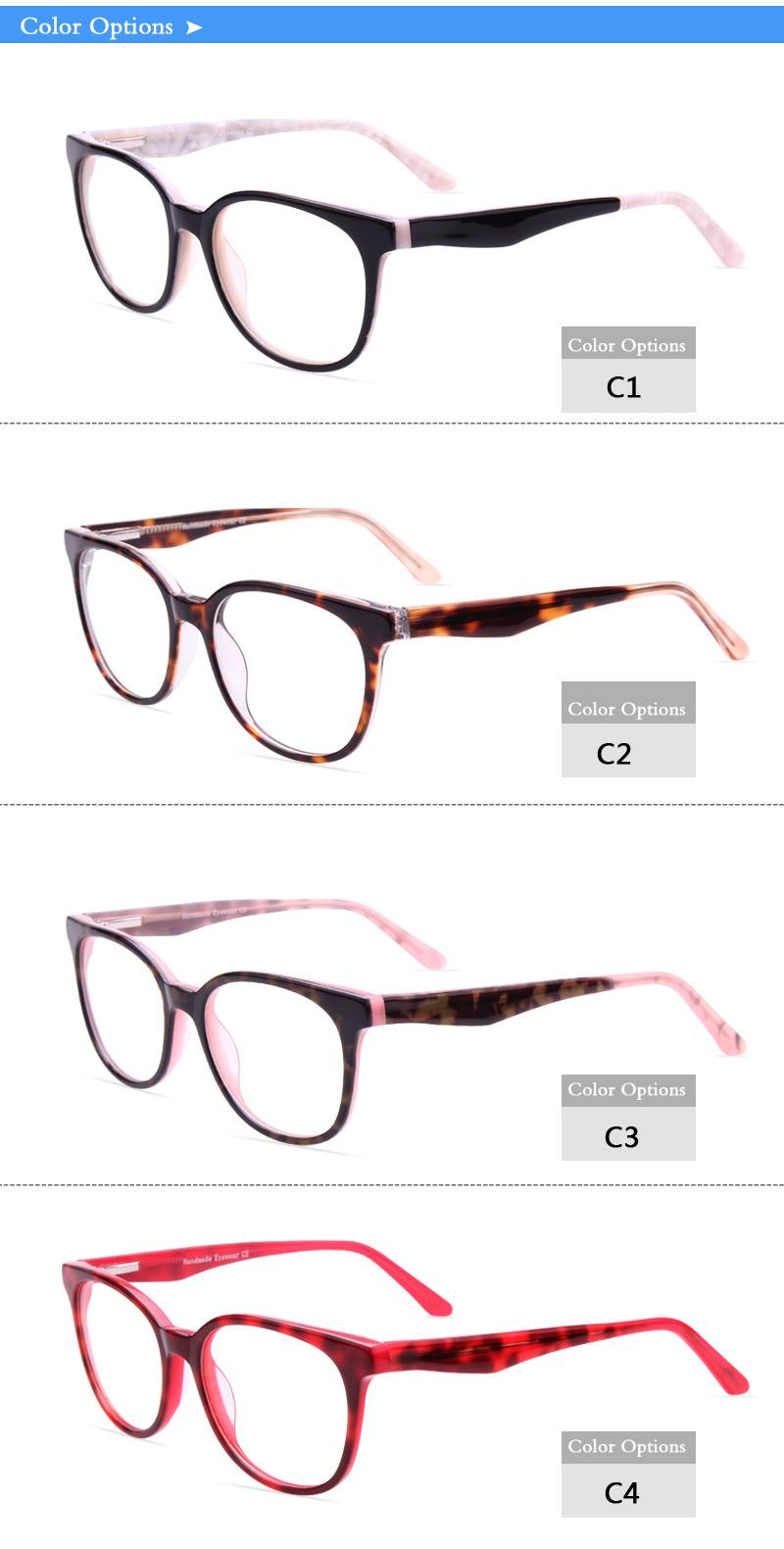 Fashion design acetate eyeglass optical frame JC9020 ready in stock