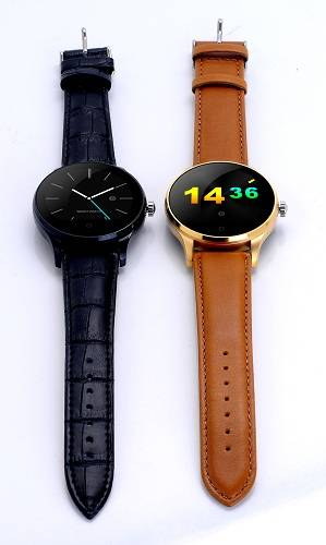 Leather Band Bluetooth Smart Watch compatiable with Both Ios & Andriod