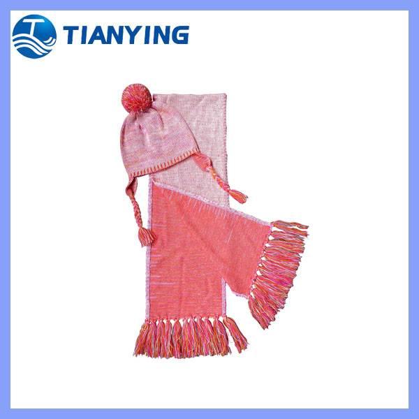 tianying fashion earflap kids winter hat scarf